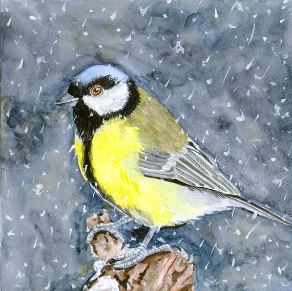 Yellow Bird original watercolor painting 8 x 8