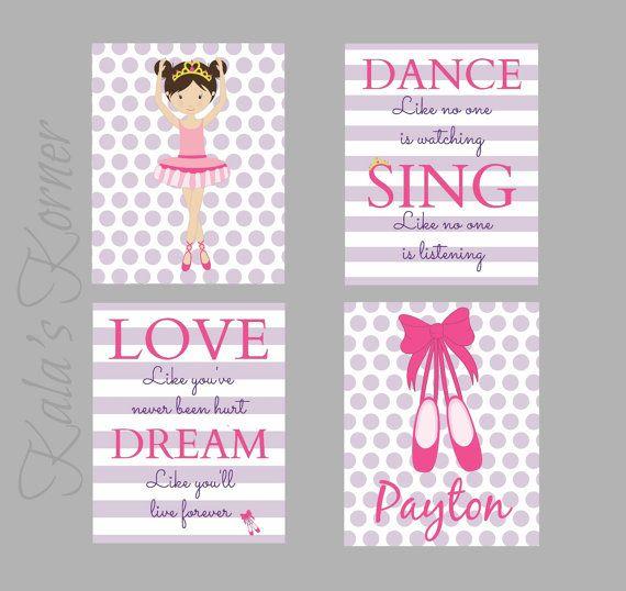 nursery art- ballerina wall art- girl nursery, Ballerina nursery decor, ballerina playroom, children wall art on Etsy, $40.00