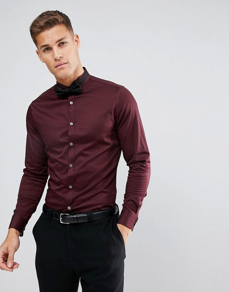 ASOS Slim Sateen Shirt In Burgundy With Wing Collar And Double Cuff -