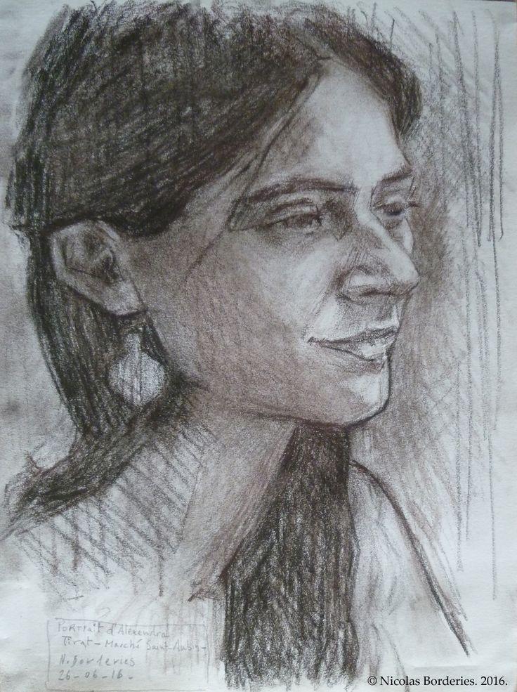 Portrait d'Alexandra, Pitt Charcoal on paper, 21 x 29,7 cm, 2016.