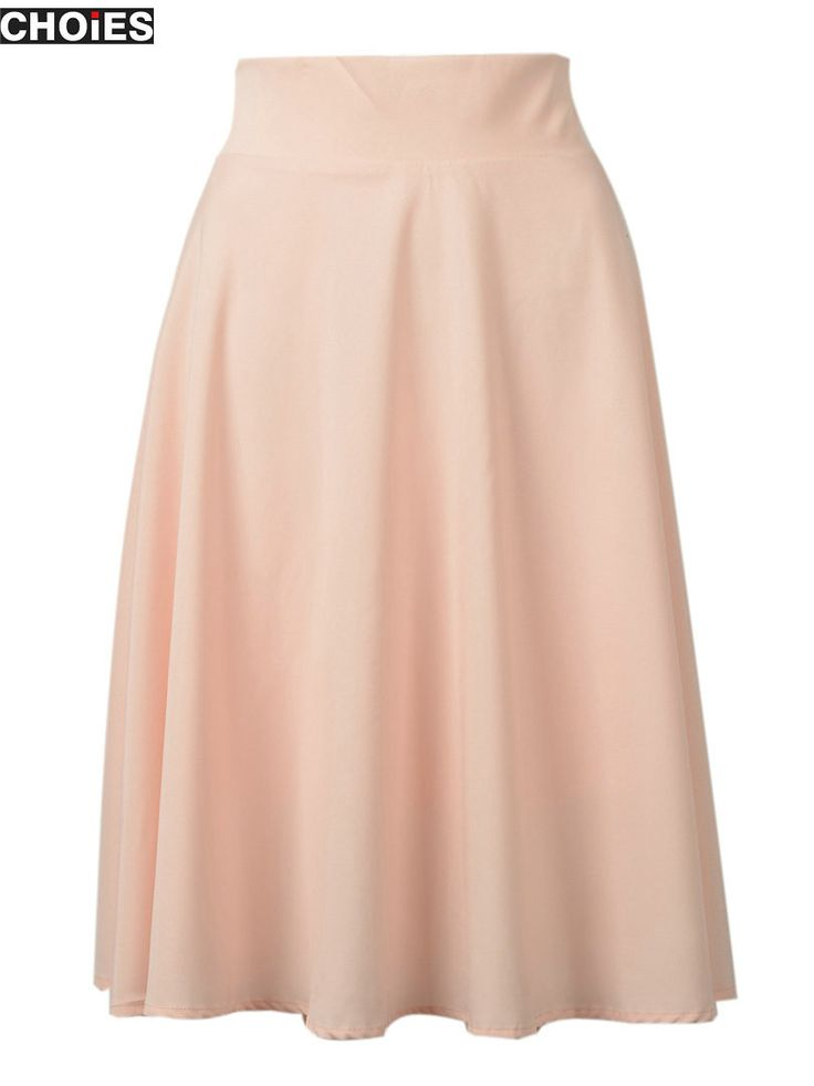 Women Pink High Waist Pleated Skater Midi Skirt Back with Zipper Up Spring New Hot Simple High Street Clothing