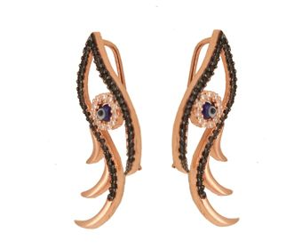 Eye ear climpers, silver earrings made of pink gold plated silver 925o with black and white cubic zirconia - Ασημένια σκουλαρίκια που αγκαλιάζουν τ` αυτί (ear cuffs). Σκουλαρίκια μάτια από ασήμι 925ο με ροζ επιχρύσωμα, λευκά και μαύρα ζιργκόν.
