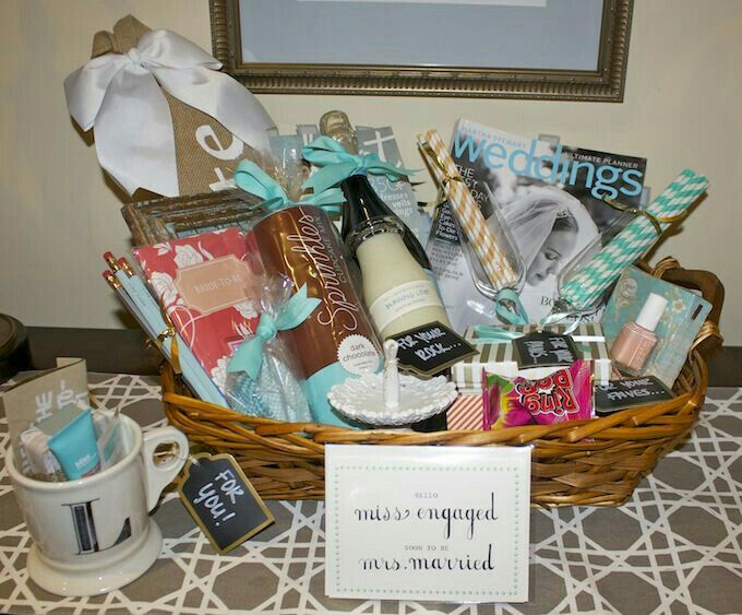 First Comes Love Engagement Wishes Diy Gift Basket Idea For The Bride Wedding Ideas Pinterest Gifts