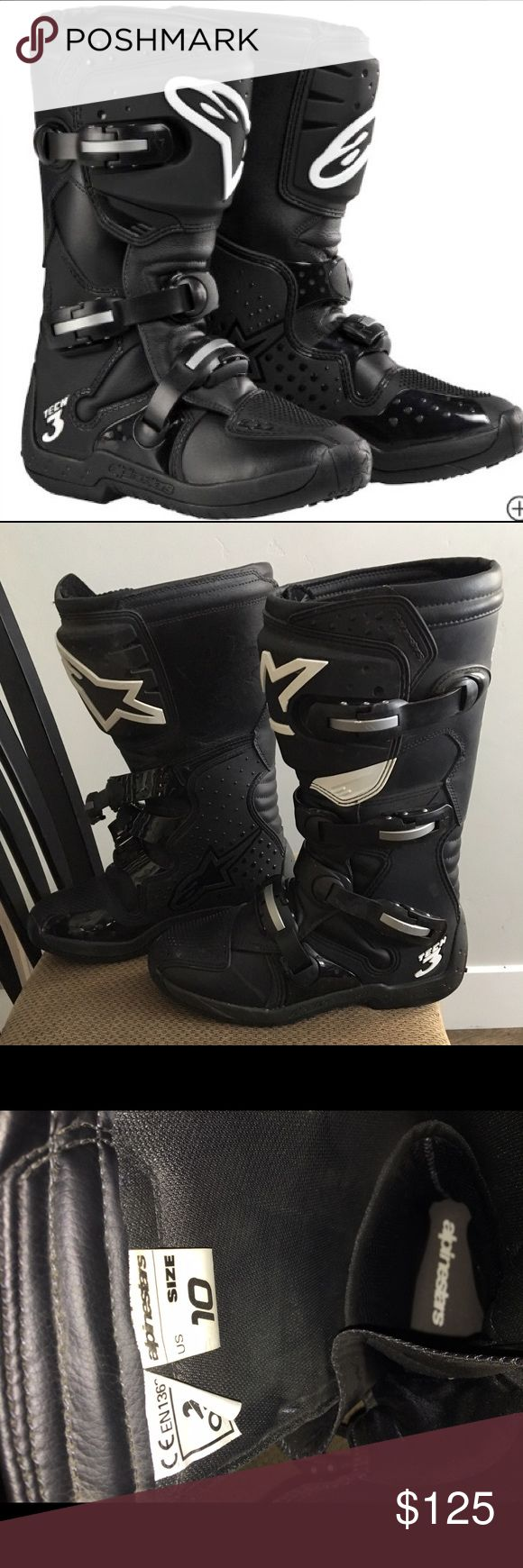 Alpinestars S Mx 5 Street Track Sport Motorcycle Boots Size 8 Black - Alpinestars motorcycle boots