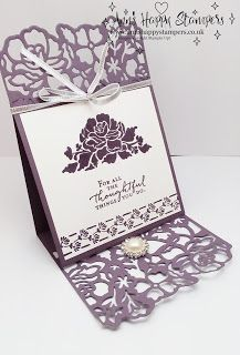 hand crafted card from Ann's Happy Stampers: Detailed Floral Thinlits Easel Wedding Card #1 .. lovely in plum ... Stampin' Up!