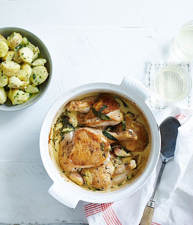 Australian Gourmet Traveller fast French recipe for lemon and mustard chicken with crushed herb potatoes.