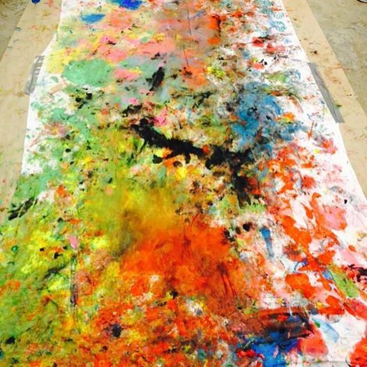 Action Painting with kids in the age 3-4 years old.