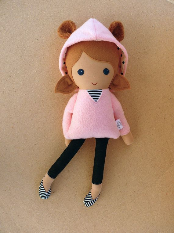 Fabric Doll Rag Doll Light Brown Haired Girl in in by rovingovine