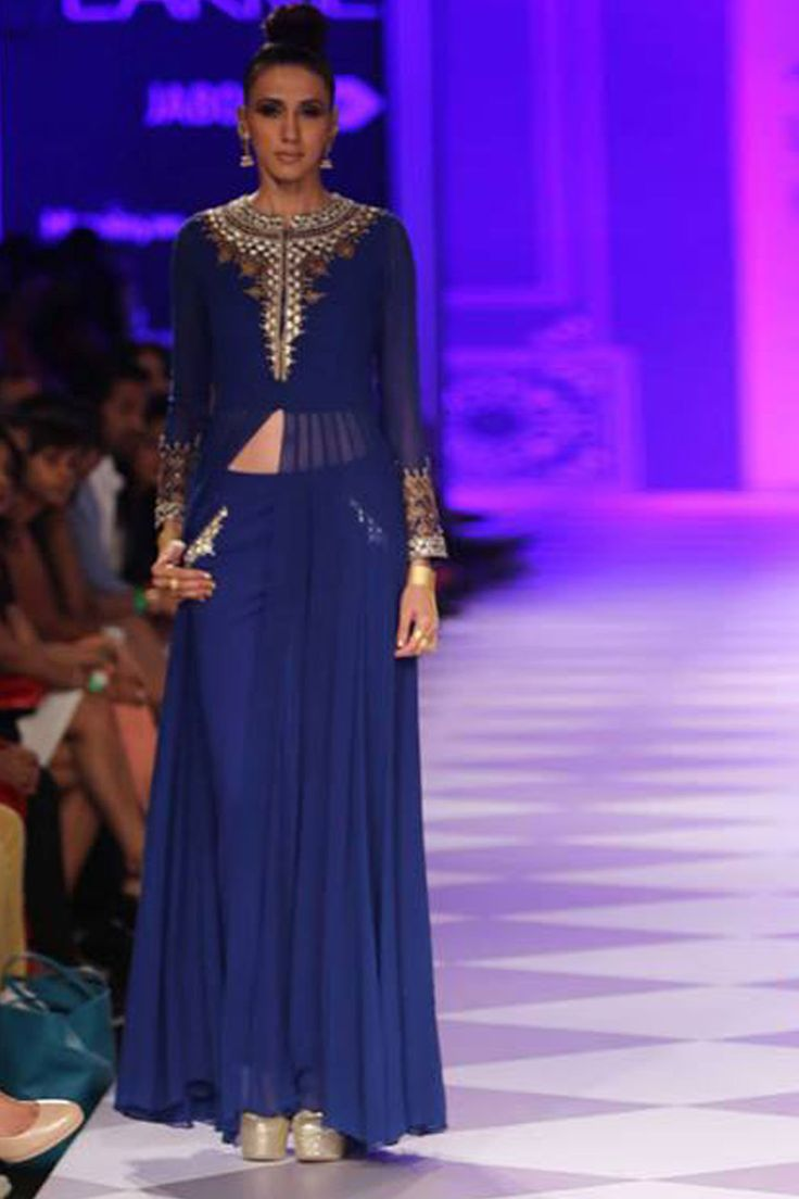 Blue embroidered jacket kurta with pants available only at Pernia's Pop-Up Shop.