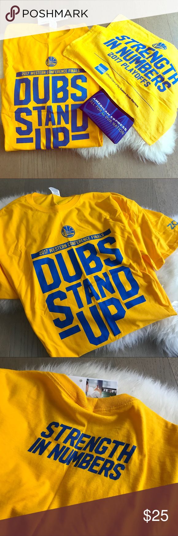 Warriors dub nation finals tshirt, towel, pouch 2017 NBA champions --  WARRIORS 💙💛 dubs stand up western conference finals t shirt, strength in numbers playoff towel, and dub nation pouch! T shirt is one size, size XL (can be cut or tied for ladies) Brand new with tags and only available from the 2017 playoffs/ finals games! These are great to add to your fan collection especially since the warriors are the 2017 NBA champs this year! Can be sold separately if you'd like. Warriors Tops Tees…