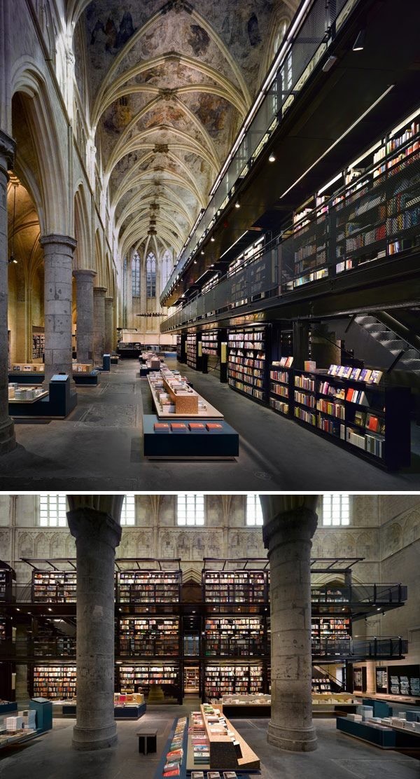 "Most Beautiful Bookstores, e.g. ""A gorgeous converted Dominican church gives the power of reading its due diligence. Selexyz Bookstore, Maastricht, Holland"" (via Flavorwire)"