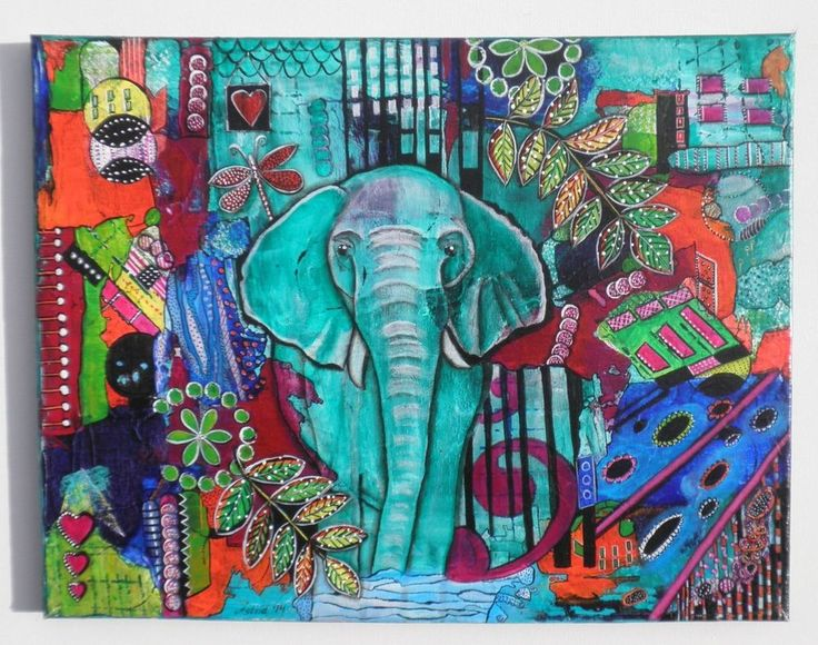 Elephant - Original colourful ink intuitive Painting by Astrid