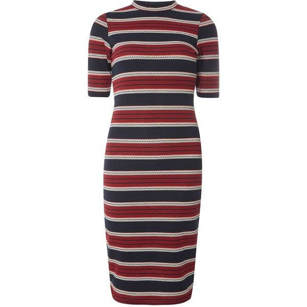 Dorothy Perkins Stripe Bodycon Dress (850 MXN) ❤ liked on Polyvore featuring dresses, vestidos, multi, navy dress, navy blue bodycon dress, stripe dresses, navy stripe dress and red striped dress