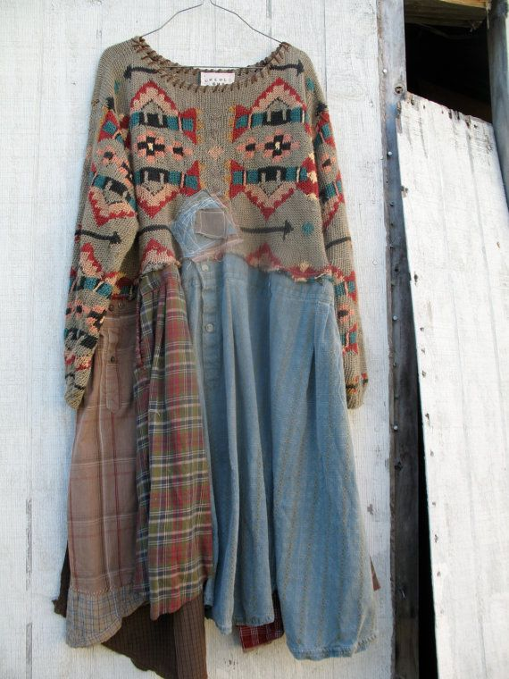 large plus romantic Upcycled clothing / Patchwork by CreoleSha