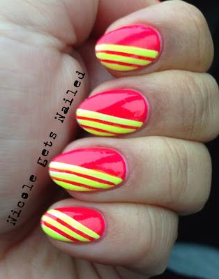 neon stripes nail art design (base color masked with striping tape)
