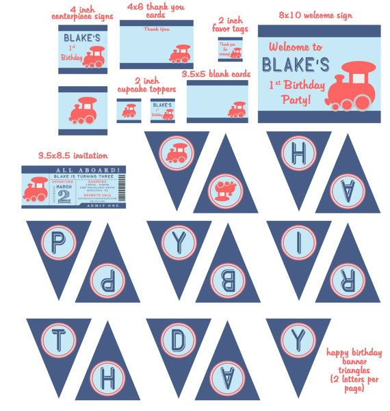 Train Ticket Birthday Party package - invitation cupcake toppers favor tags signs thank you cards and more by NotableAffairs