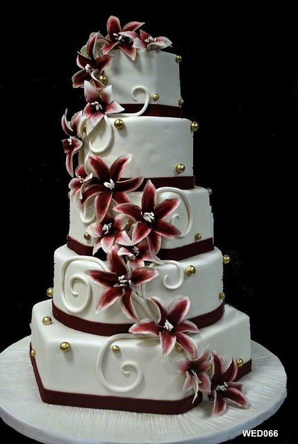 WED066 5 tier with hex round square and lilly spiral wedding cake copy 66 93 by 3 Brothers Bakery, via Flickr