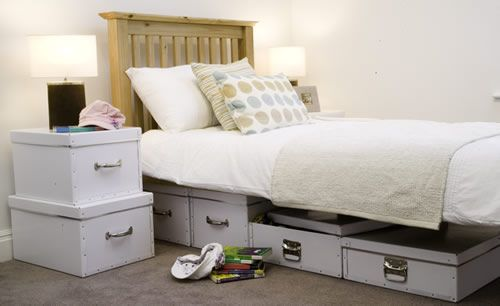 Set of Two Under Bed Storage Boxes - 17cm high x 47cm wide x 60cm deep and 16.5cm high x 45.5cm wide x 58cm deep - £23