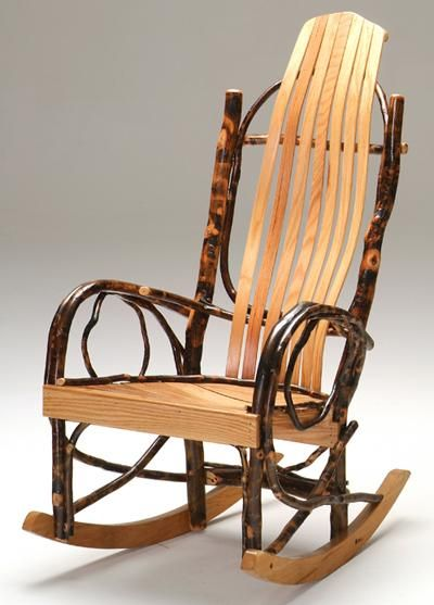 Rustic Hickory Rocker, Bent Wood Rocker, Log Cabin Rocker, | Woodland Creek  Furniture