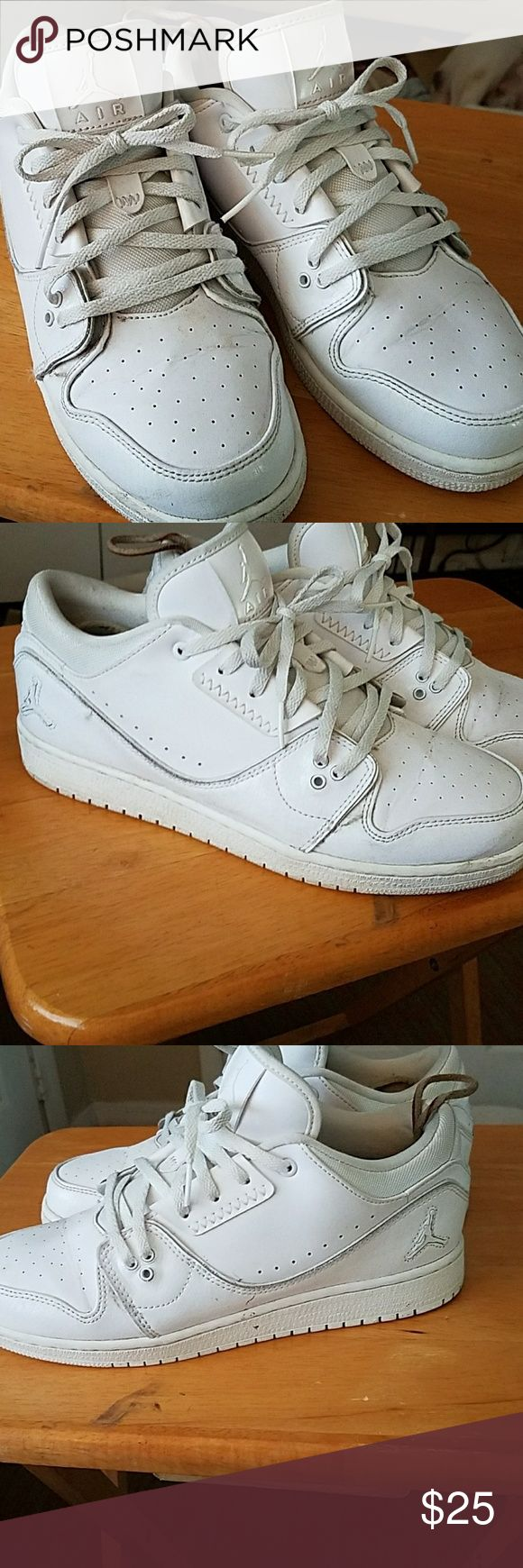 Nike Jordan's mid cut size 7Y or 9 in womans Nike Jordan low cuts, in good condition these were worn by my wife when she was doing low impact outdoor workouts. Please no low ball offers. Nike Shoes Sneakers