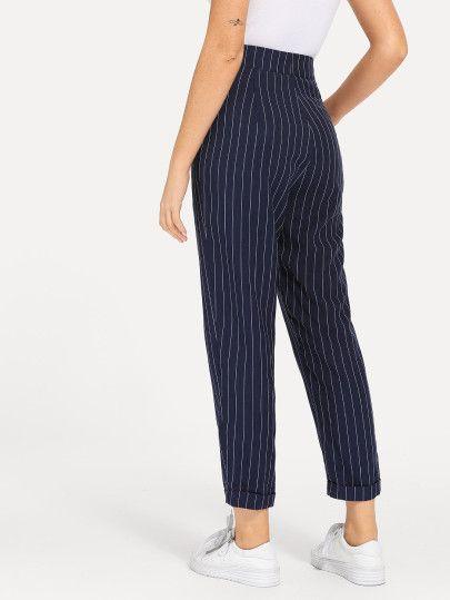 4a2ee0dca2 Slant Pocket Button Up Striped Pants -SheIn(Sheinside) | partes de ...
