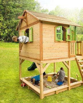 6998d70210 Holz-Kinderspielhaus auf Stelzen Sandkasten Garten 173x113cm Haus-Innenmaß  Genügend Platz - auch für