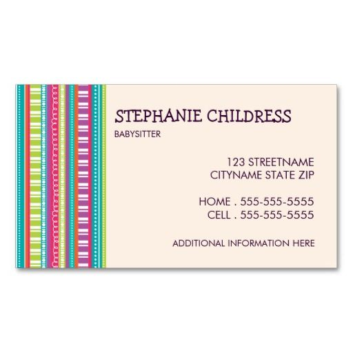 17 Best images about Babysitting Business Cards on Pinterest | Day ...