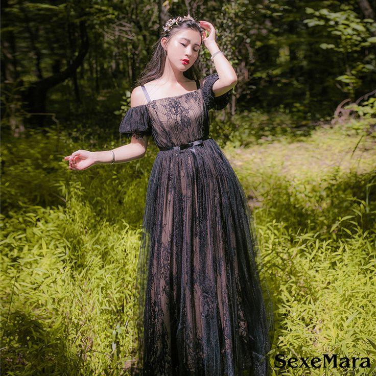 Sexemara/платье принцессы готические платье винтажные женские Лолита черное кружевное элегантное бальное платье Вечеринка Мори девушка платья vestidosкупить в магазине SexeMaraFactory StoreнаAliExpress