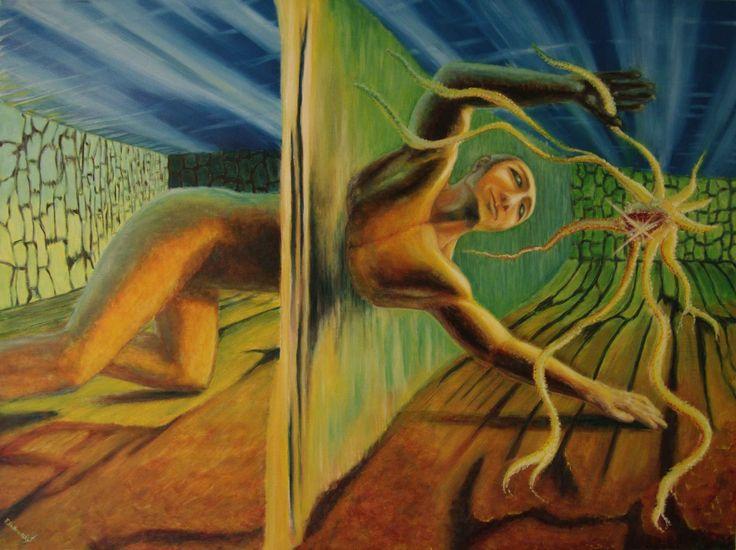 OBRAZY rok 2005. | František Podhradský The manhole dimension oil painting on canvas. 120 x 90 cm 2005
