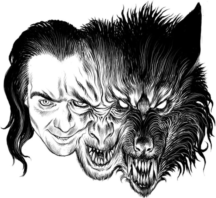 how to draw a werewolf face step by step