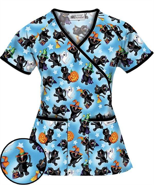 H668BCB   UA Women's Black Jack and Cat Blue Mock Wrap Scrub Top $11.99 http://www.uniformadvantage.com/pages/prod/h668bcb-halloween-scrub-top.asp?navbar=4
