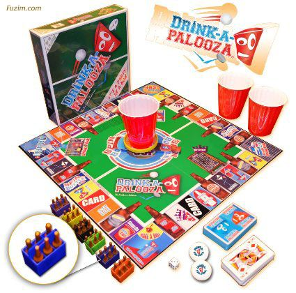 """""""DRINK-A-PALOOZA"""" Board Game: The """"Monopoly"""" of Drinking Games featuring Beer Pong and others…"""