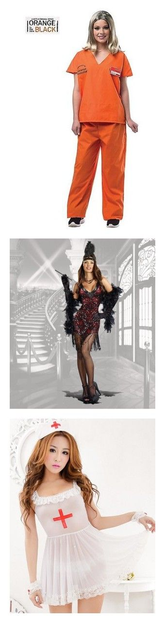 """""""Costumes"""" by nerdbucket ❤ liked on Polyvore featuring costumes, halloween costumes, womens halloween costumes, orange halloween costume, wig costumes, ladies halloween costumes, lady costumes, red, 1920s flapper costume and flapper halloween costumes"""