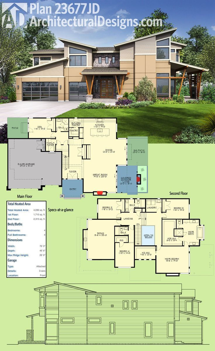 outdoor living floor plans plan 23677jd modern house plan with sun patio and covered 21172