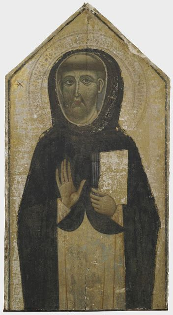 Unidentified Artis,   Saint Dominic,  c. 1265-1320,   Tempera and gold on panel with a gabled top  including strip frame: 117 x 61.9 cm (46 1/16 x 24 3/8 in.),  Fogg Art Museum, Cambridge, Mass