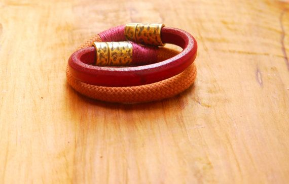 Bordeaux and Terracotta  Double Bracelet Greek by FabLabCrafts