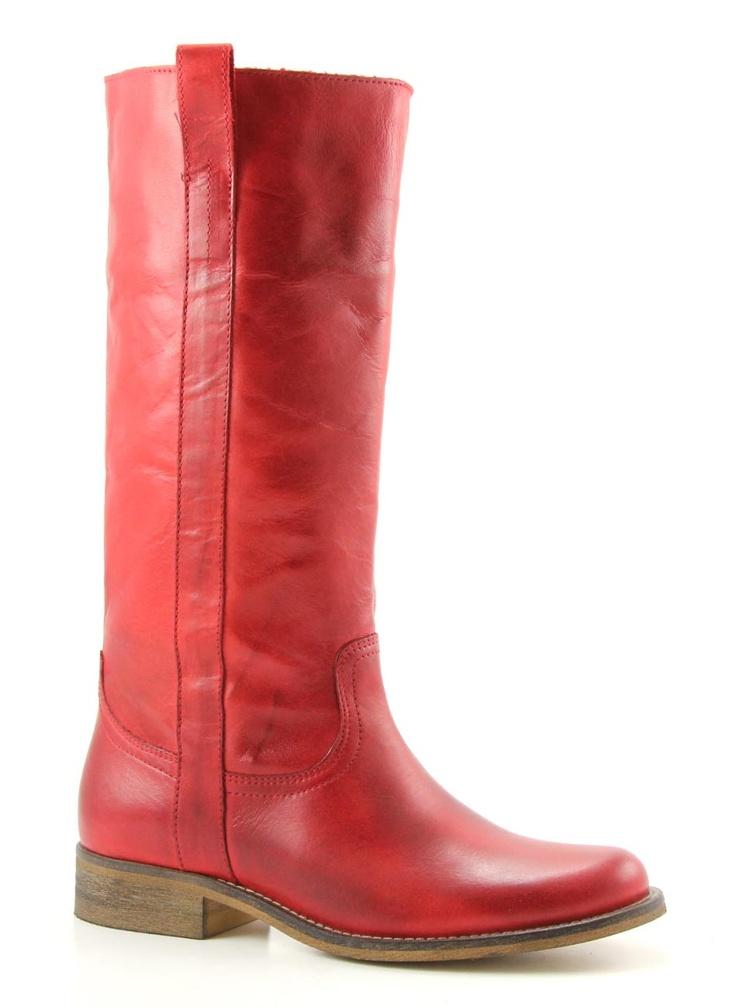 rode platte laarzen