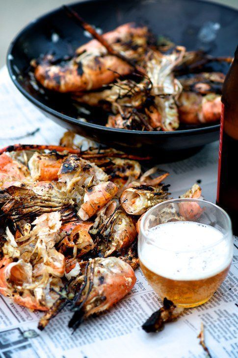 grilled crawfish and beer