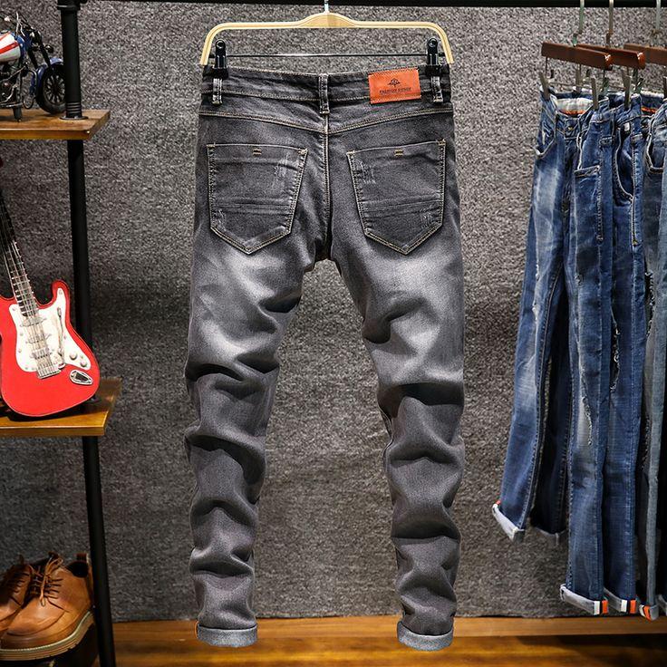 De los hombres de Mezclilla Skinny Jeans Pantalones Lápiz Sólido Elástico Pantalones Vaqueros Largos Nueva Moda Masculinos Vaqueros Delgados Jeans Ejército Verde Tamaño 38