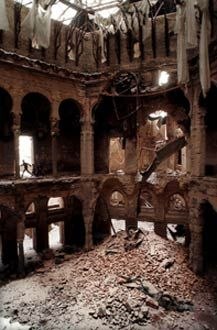 Over the years of war, the national library in Sarajevo was totally destroyed. Books were burned to keep desperate citizens warm during bitter cold winters.