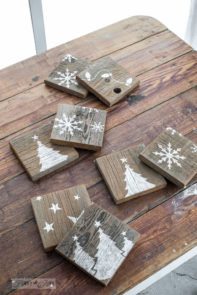 Rustic reversible coasters, Christmas one side, crate on the other, made with Funky Junk's Old Sign Stencils | funkjunkinteriors.net