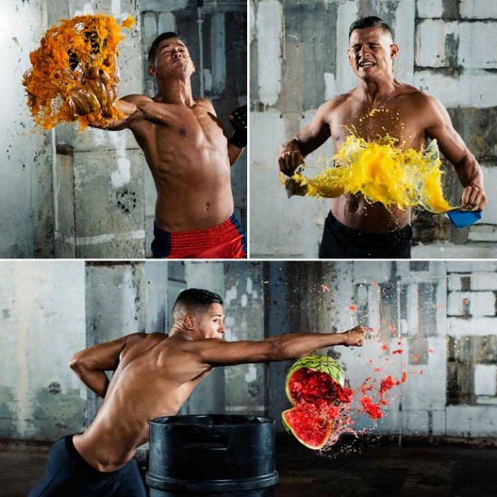 Camera manufacturer Nikonhas partnered withmixed martial artistTom 'Fire Kid' Duquesnoyand sports photographerTom Milesto capture the split-second moment of impact and reveal scenes that what would otherwise be impossible to see with the naked eye. The incredibly fast MMA superstar was shot striking various household food items such as watermelons, cakes and pumpkins, to showcase both the rapid processing speed and high ISO capabilities of theNikonD500 camera.