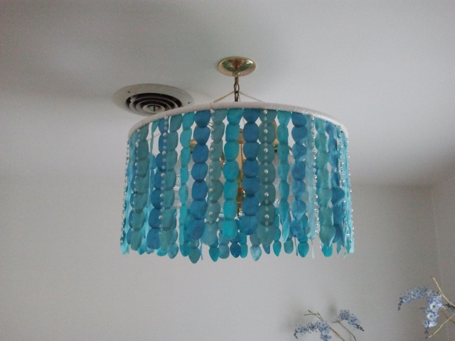 Hula Hoop Chandelier A good way for renters to hide an