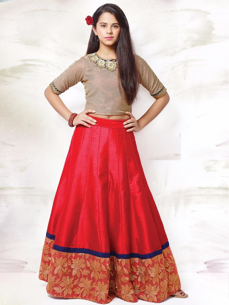Red Raw Silk Lehenga Choli