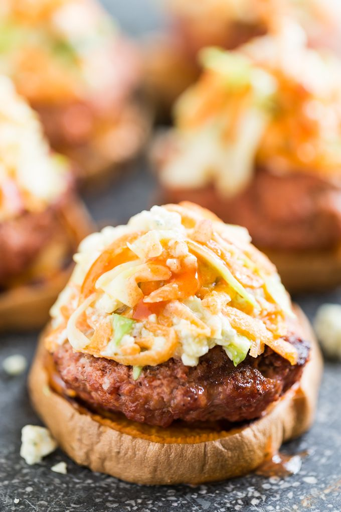Try these Buffalo Sweet Potato Burgers with Blue Cheese Slaw on Martin's Potato Rolls!