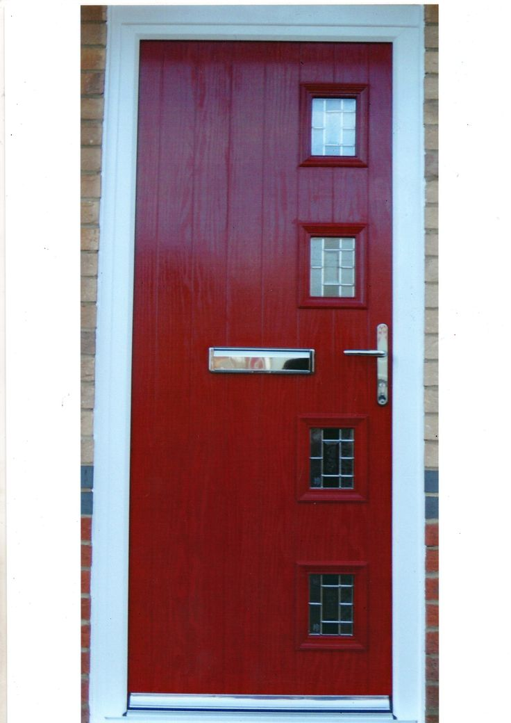 A modern Red Composite Door with square design. Styles like this can be fitted from £650 www.imagewindows.com Image Windows