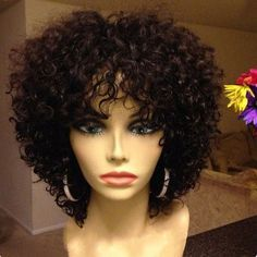 """12"""" Kinky Curly Wigs African American Wigs The Same As The Hairstyle In The Picture - Human Hair Wigs For Black Women"""