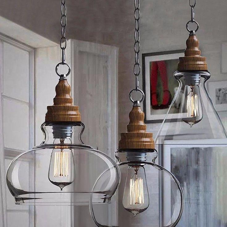Moderno Retrò Scandinavo In Legno Stile Vintage Lampada A Sospensione Vetro | eBay