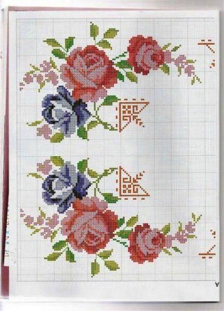motivos de rosas gráficos em ponto cruz