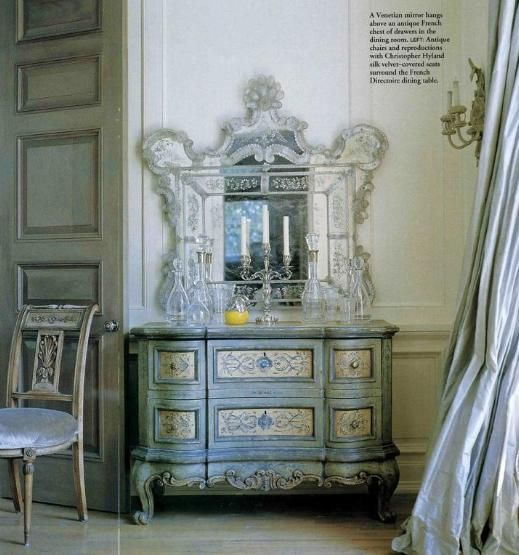 Shimmering silver.Decor, Dining Room, French Bedrooms, Painting Furniture, Blue, Cote De Texas, Venetian Mirrors, French Furniture, Painting Dressers